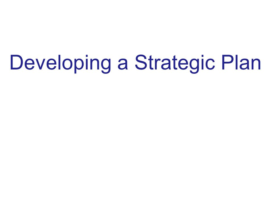 Developing a Strategic Plan