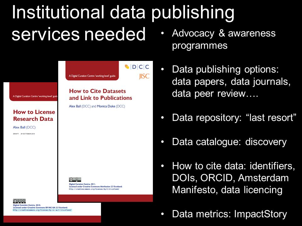 Institutional data publishing services needed Advocacy & awareness programmes Data publishing options: data papers, data journals, data peer review….