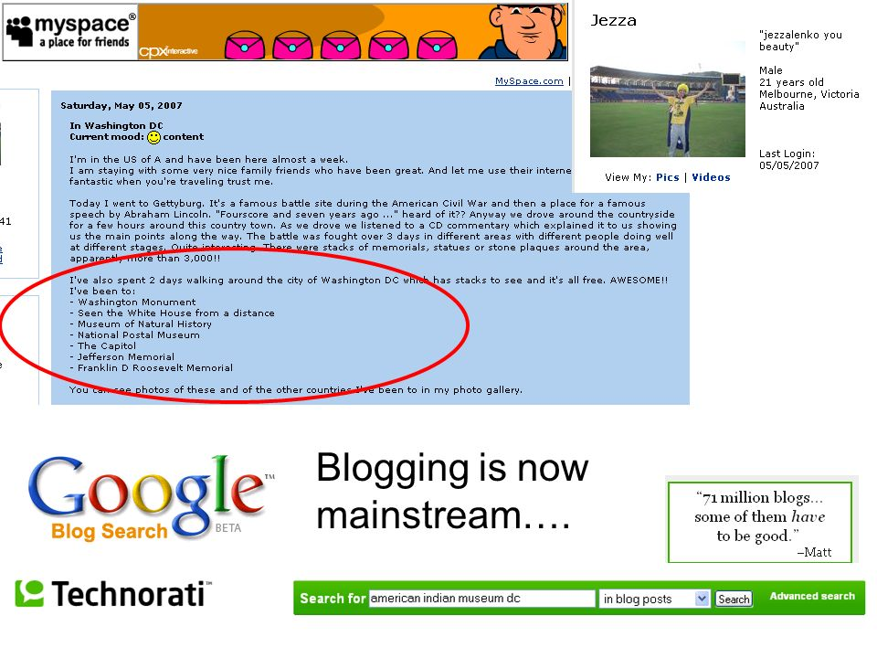 Blogging is now mainstream….