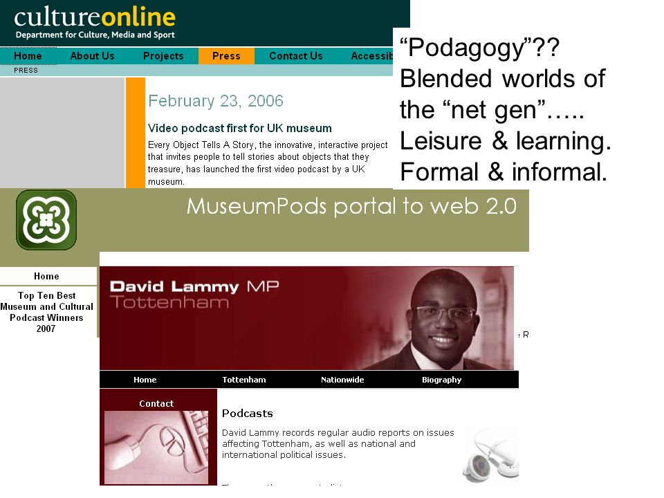 Podagogy Blended worlds of the net gen….. Leisure & learning. Formal & informal.