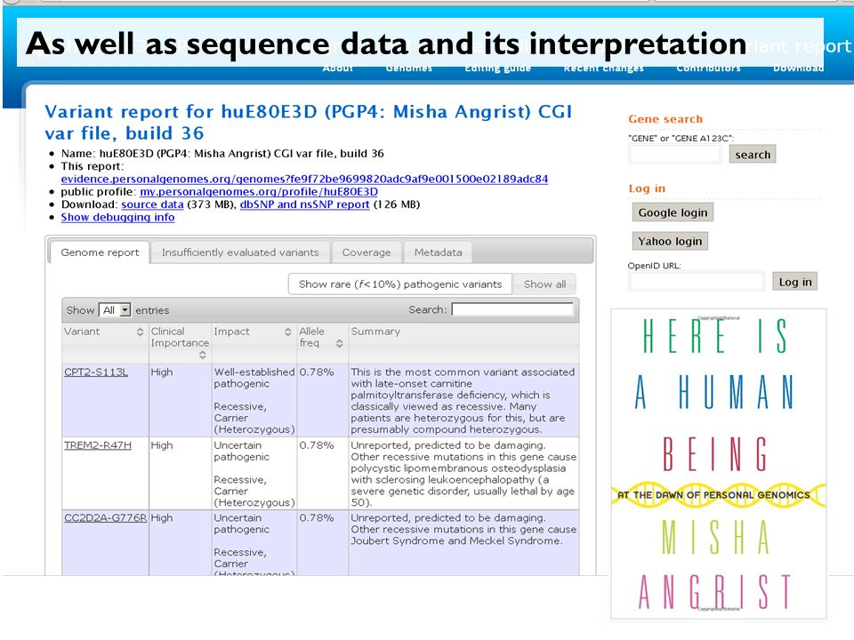 As well as sequence data and its interpretation