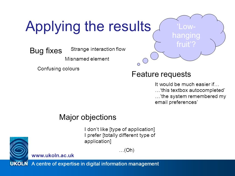 A centre of expertise in digital information management www.ukoln.ac.uk Applying the results Bug fixes Feature requests Major objections Misnamed elem