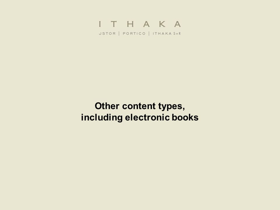 Other content types, including electronic books