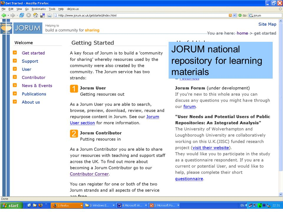 JORUM national repository for learning materials
