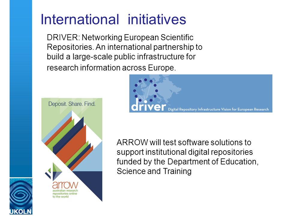 International initiatives DRIVER: Networking European Scientific Repositories.