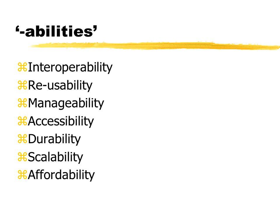 -abilities zInteroperability zRe-usability zManageability zAccessibility zDurability zScalability zAffordability