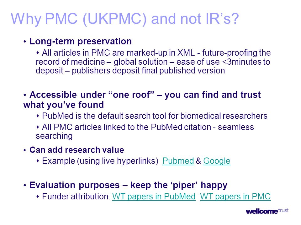 Why PMC (UKPMC) and not IRs.