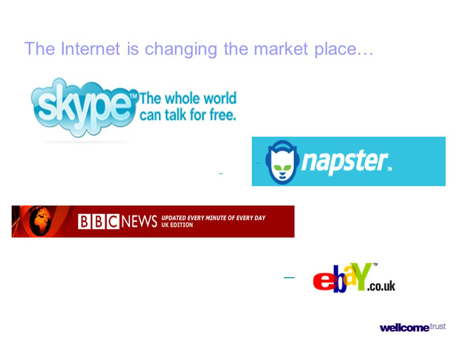 The Internet is changing the market place…