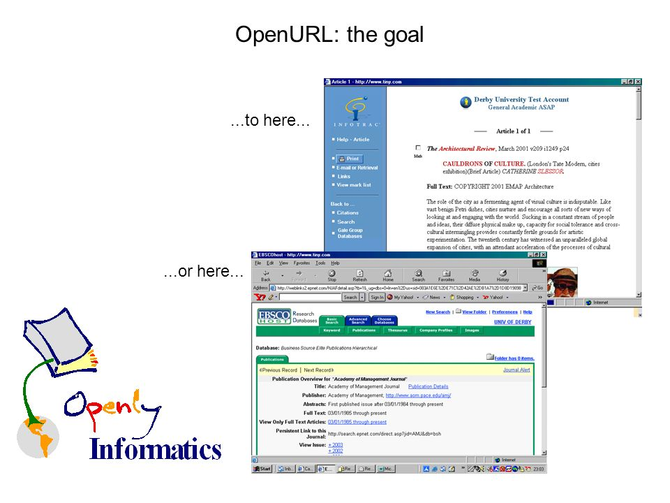 OpenURL: the goal...to here......or here...