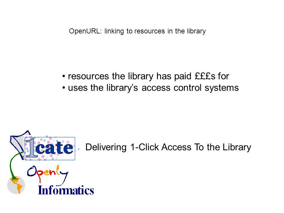OpenURL: linking to resources in the library resources the library has paid £££s for uses the librarys access control systems Delivering 1-Click Access To the Library