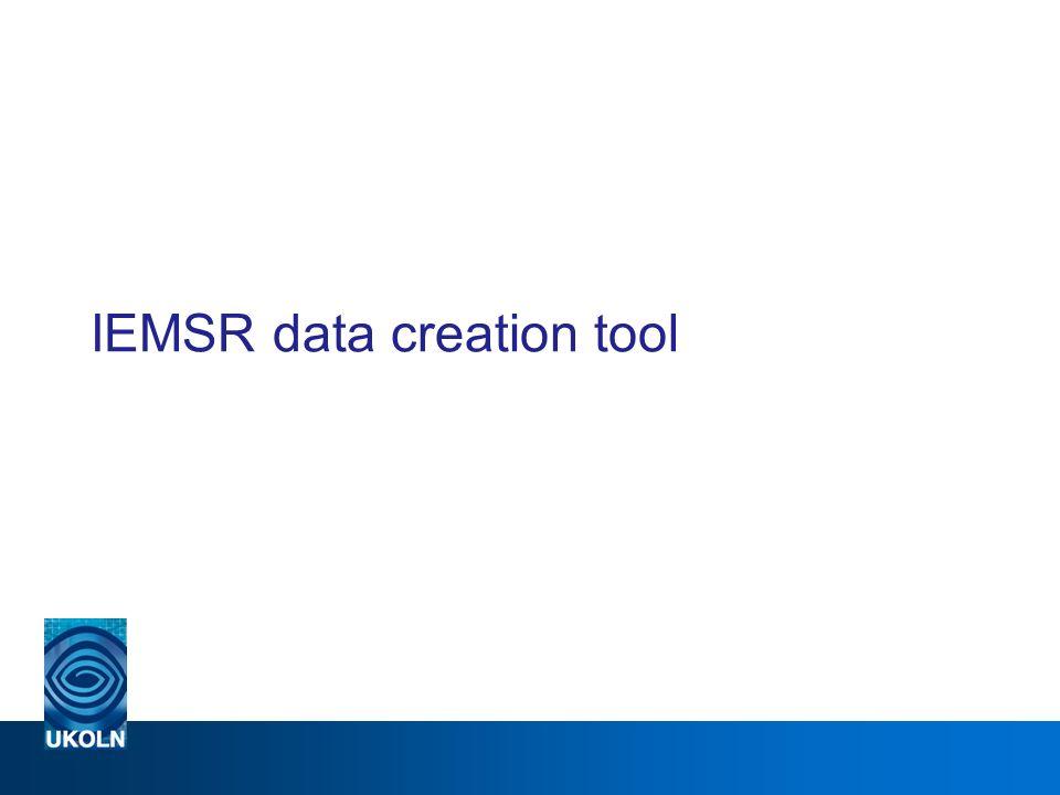 IEMSR data creation tool