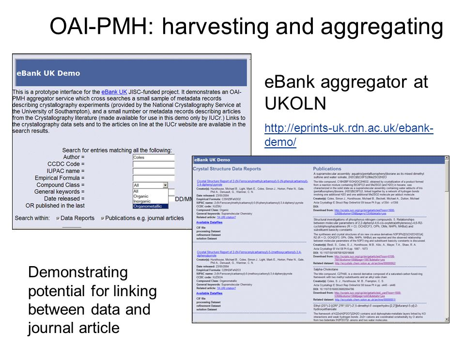OAI-PMH: harvesting and aggregating eBank aggregator at UKOLN http://eprints-uk.rdn.ac.uk/ebank- demo/ Demonstrating potential for linking between data and journal article