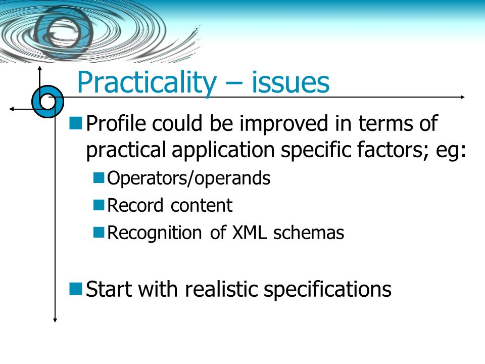 Practicality – issues Profile could be improved in terms of practical application specific factors; eg: Operators/operands Record content Recognition