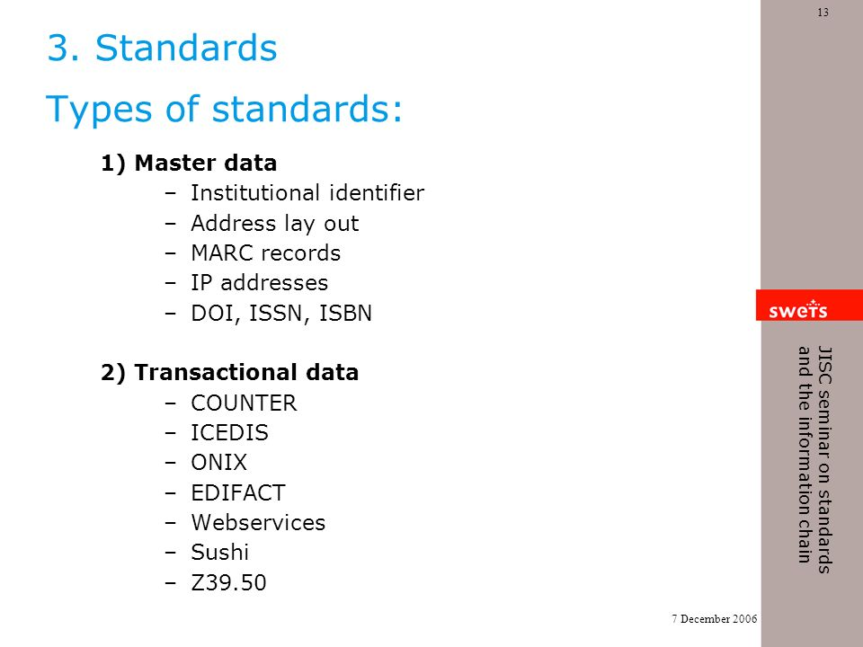 7 December 2006 13 JISC seminar on standards and the information chain 3. Standards Types of standards: 1) Master data –Institutional identifier –Addr