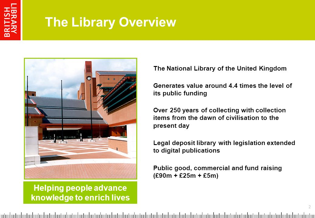 2 The Library Overview Helping people advance knowledge to enrich lives Legal deposit library with legislation extended to digital publications Public good, commercial and fund raising (£90m + £25m + £5m) The National Library of the United Kingdom Over 250 years of collecting with collection items from the dawn of civilisation to the present day Generates value around 4.4 times the level of its public funding