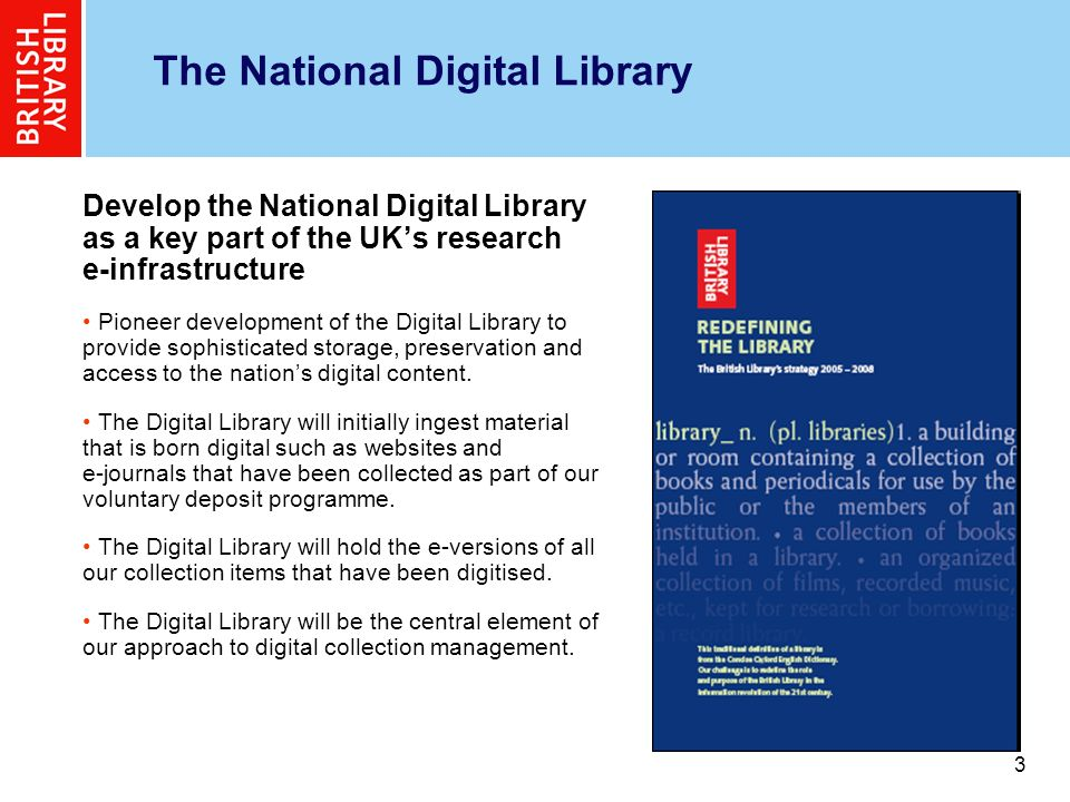 4 4 Mission and Vision The Digital Object Management Programme is developing the infrastructure of the National Digital Library.