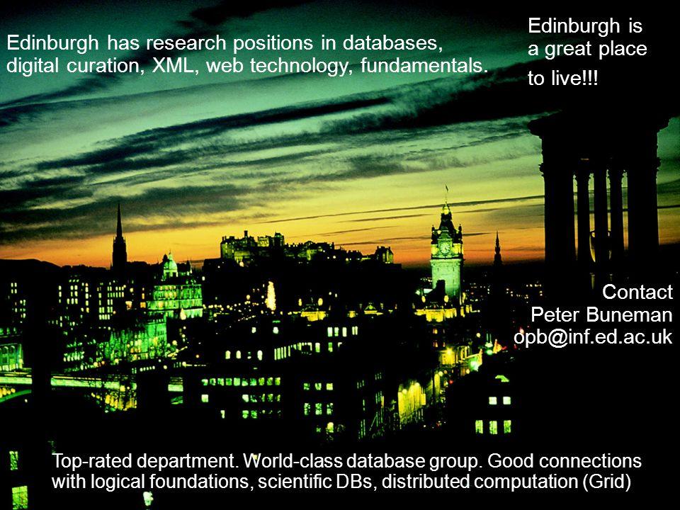 Edinburgh has research positions in databases, digital curation, XML, web technology, fundamentals.