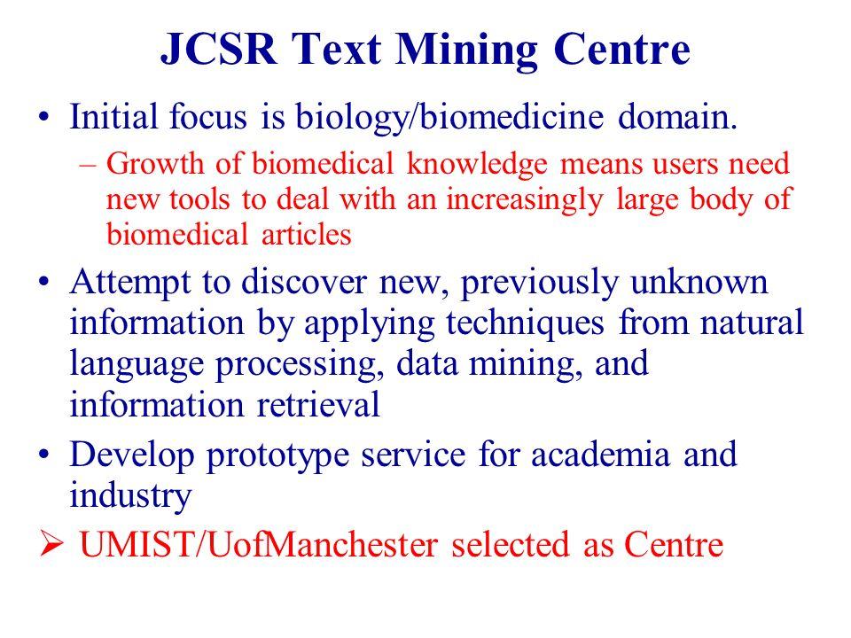JCSR Text Mining Centre Initial focus is biology/biomedicine domain.