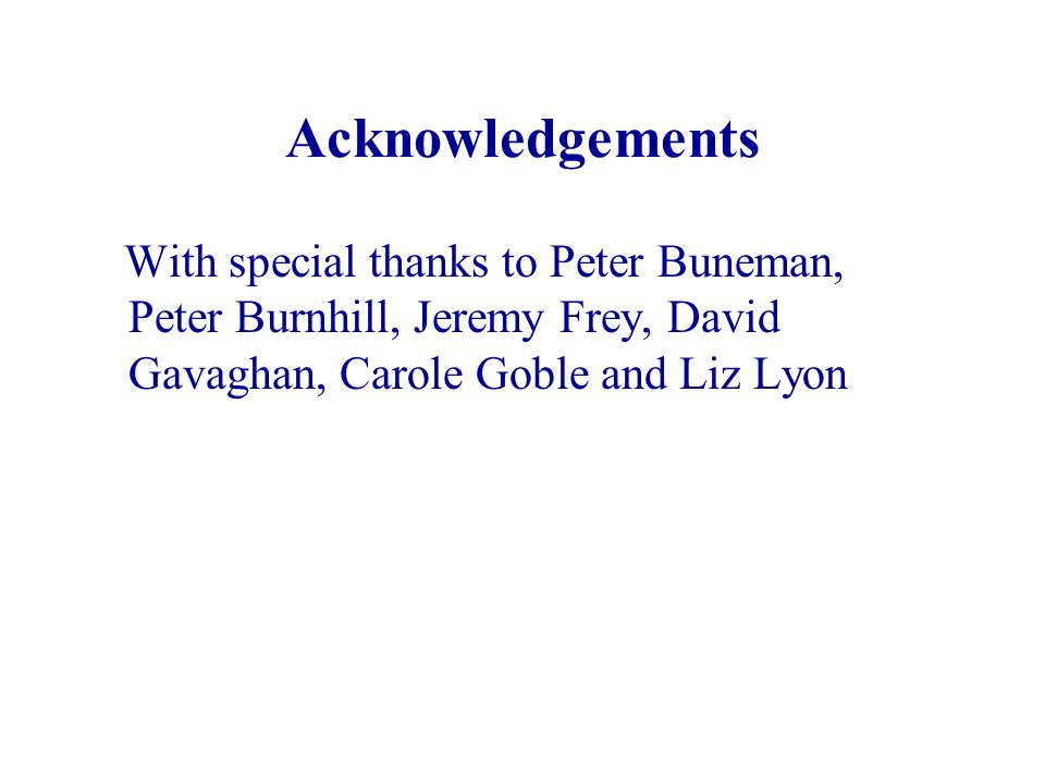 Acknowledgements With special thanks to Peter Buneman, Peter Burnhill, Jeremy Frey, David Gavaghan, Carole Goble and Liz Lyon