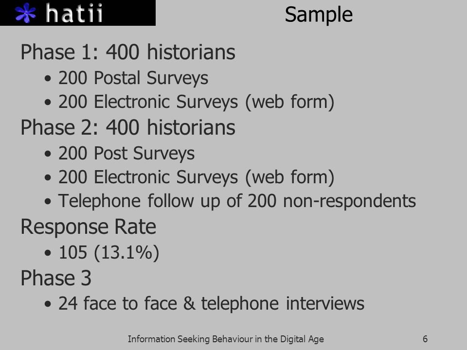 Information Seeking Behaviour in the Digital Age6 Sample Phase 1: 400 historians 200 Postal Surveys 200 Electronic Surveys (web form) Phase 2: 400 his