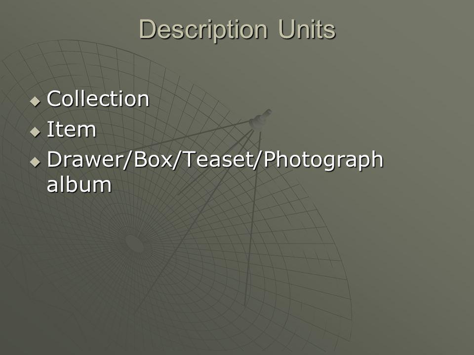 Description Units Collection Collection Item Item Drawer/Box/Teaset/Photograph album Drawer/Box/Teaset/Photograph album