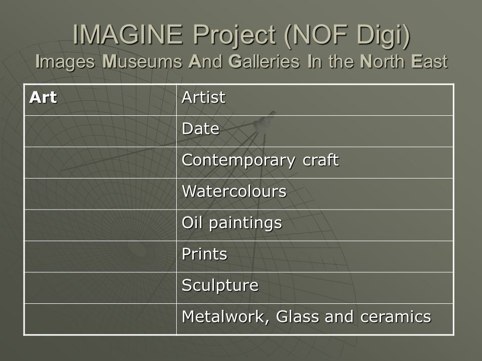 IMAGINE Project (NOF Digi) Images Museums And Galleries In the North East ArtArtist Date Contemporary craft Watercolours Oil paintings Prints Sculpture Metalwork, Glass and ceramics