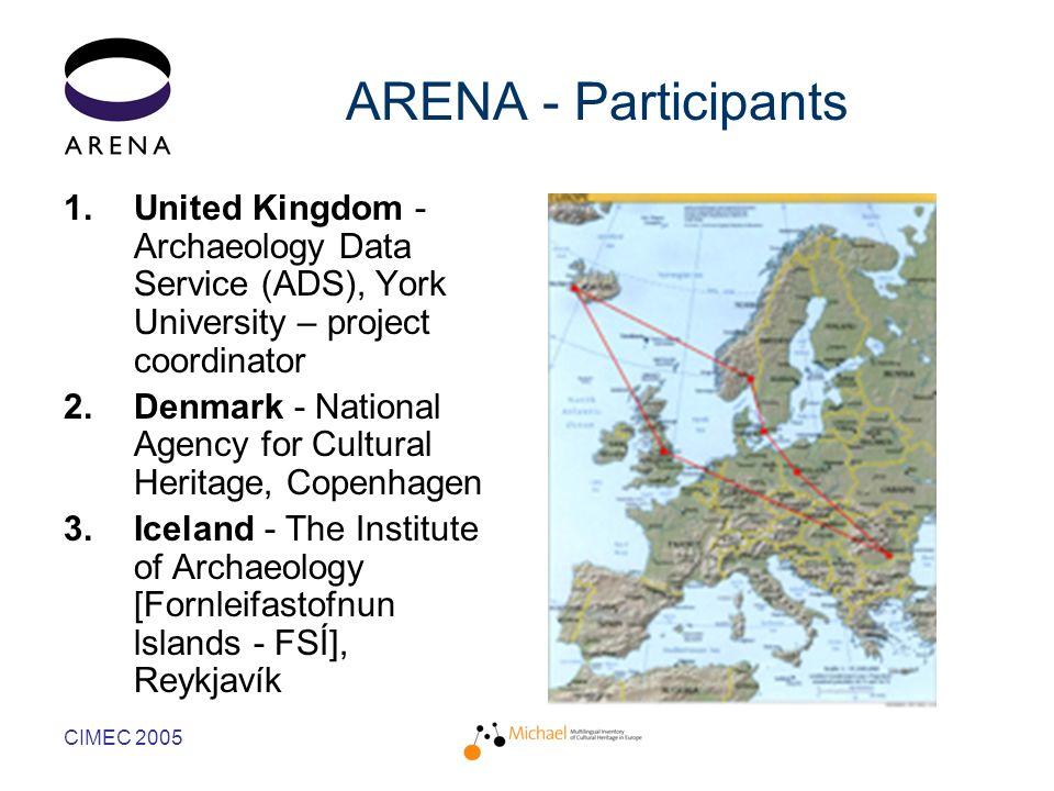 CIMEC 2005 ARENA - Participants 1.United Kingdom - Archaeology Data Service (ADS), York University – project coordinator 2.Denmark - National Agency for Cultural Heritage, Copenhagen 3.Iceland - The Institute of Archaeology [Fornleifastofnun lslands - FSÍ], Reykjavík
