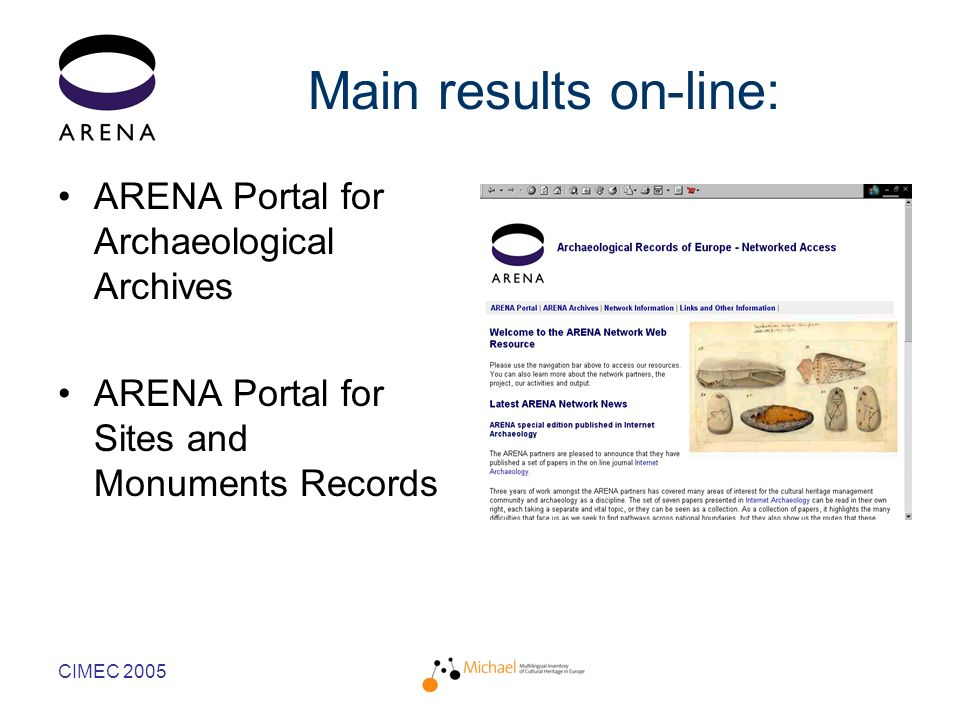 CIMEC 2005 Main results on-line: ARENA Portal for Archaeological Archives ARENA Portal for Sites and Monuments Records