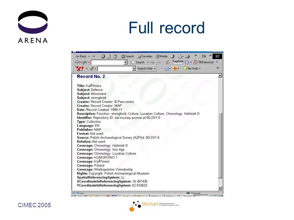 CIMEC 2005 Full record