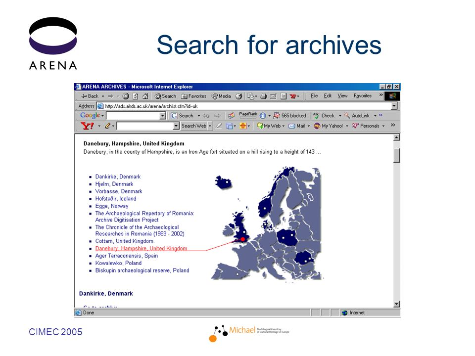 CIMEC 2005 Search for archives
