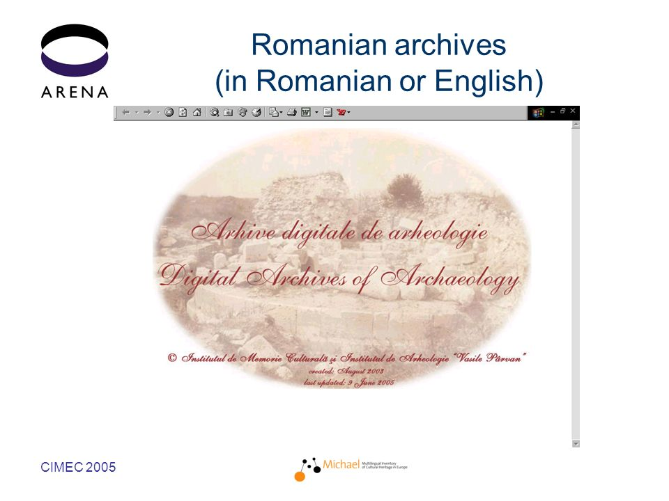 CIMEC 2005 Romanian archives (in Romanian or English)