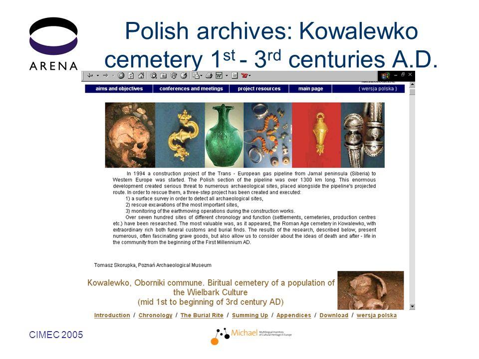 CIMEC 2005 Polish archives: Kowalewko cemetery 1 st - 3 rd centuries A.D.