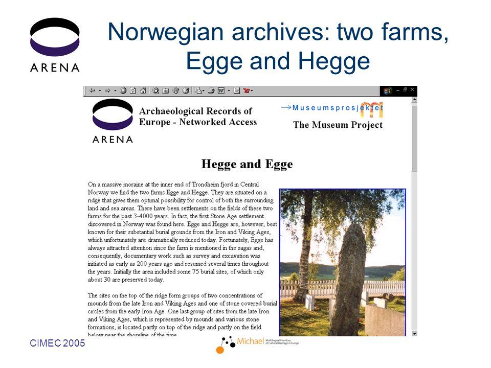 CIMEC 2005 Norwegian archives: two farms, Egge and Hegge