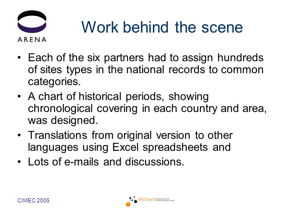 CIMEC 2005 Work behind the scene Each of the six partners had to assign hundreds of sites types in the national records to common categories.