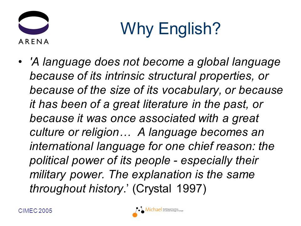 CIMEC 2005 Why English.