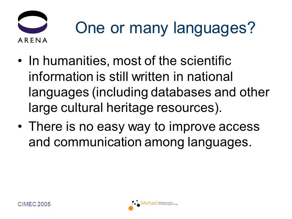 CIMEC 2005 One or many languages.