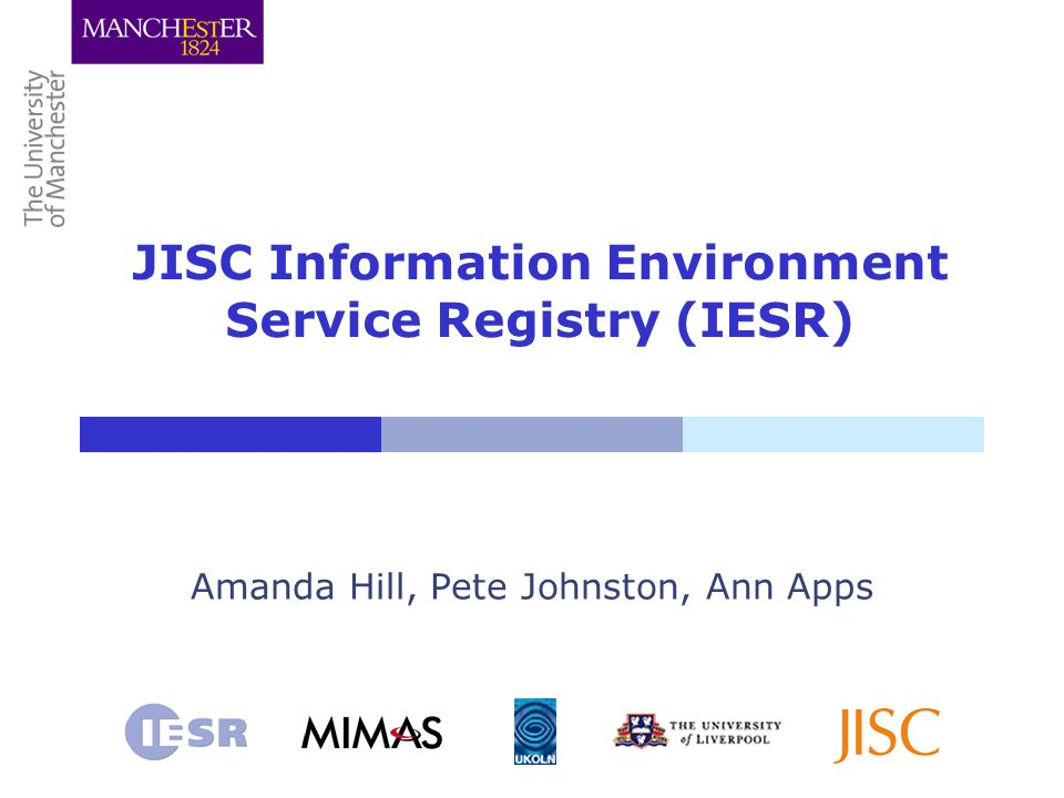JISC Information Environment Service Registry (IESR) Amanda Hill, Pete Johnston, Ann Apps