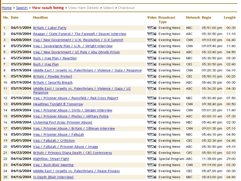 Result listing