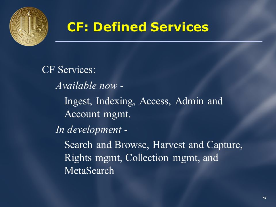 16 CF: Services > Apps