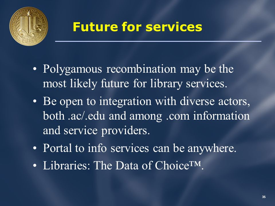 34 An integrative service Hypothetical service : Take Google Book Search, and add Re lvyl- type recommendations.