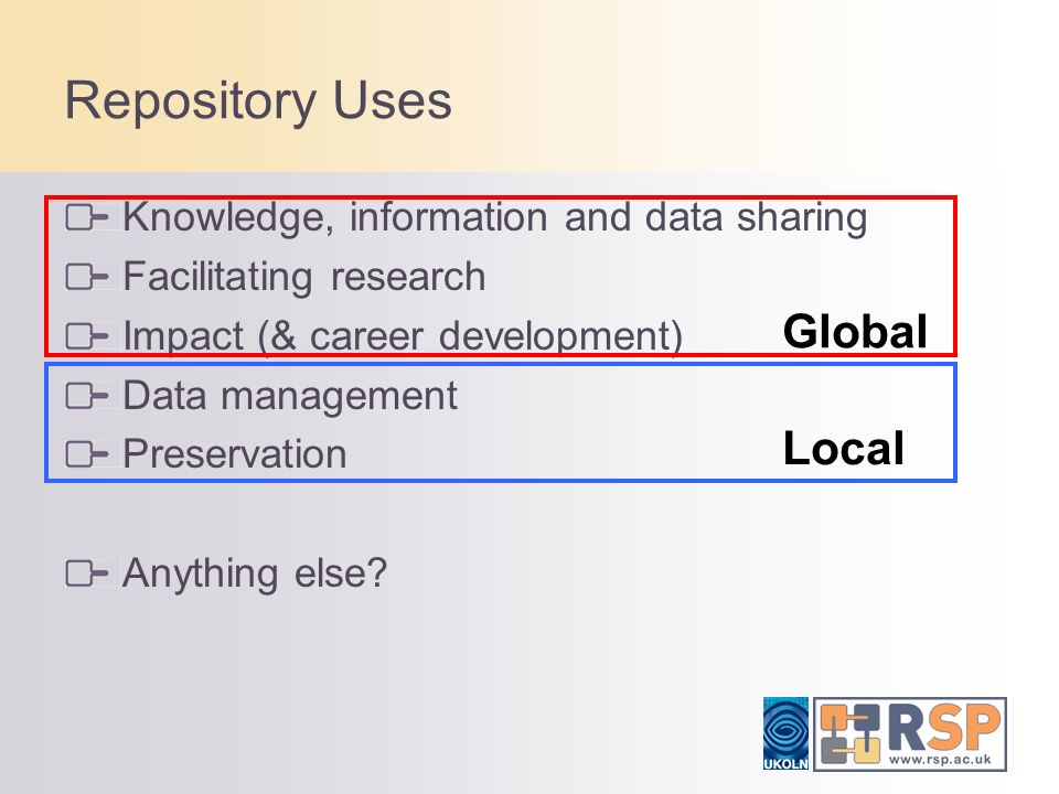 Conclusions Be clear what you want to use your repository for and how that benefits the Institution.