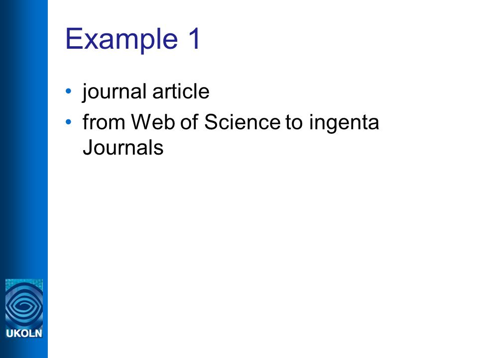 Example 1 journal article from Web of Science to ingenta Journals