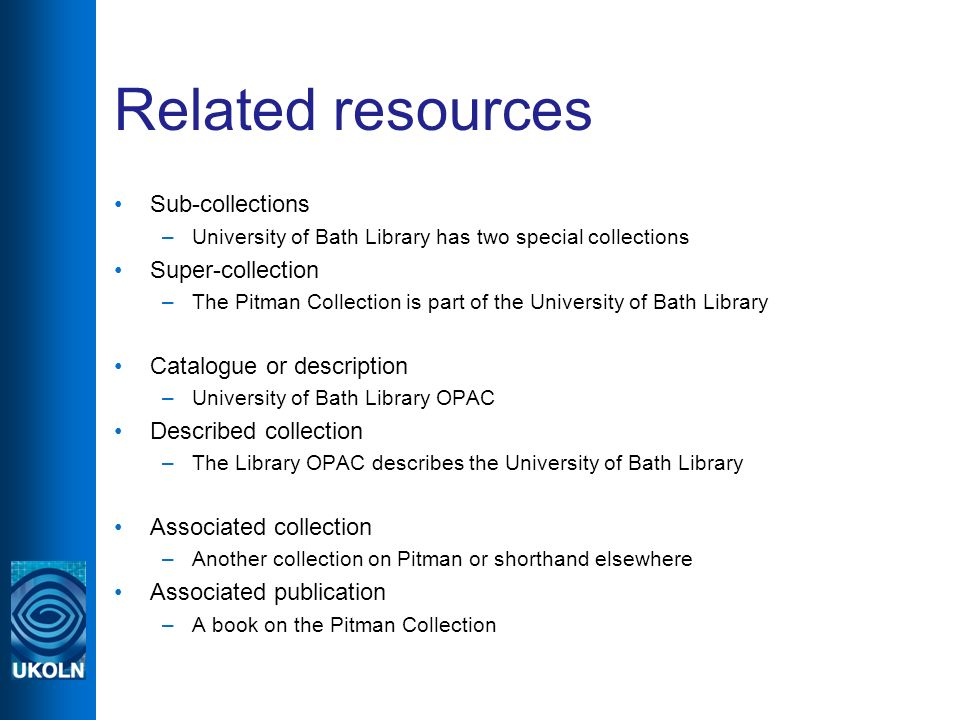 Related resources Sub-collections –University of Bath Library has two special collections Super-collection –The Pitman Collection is part of the Unive