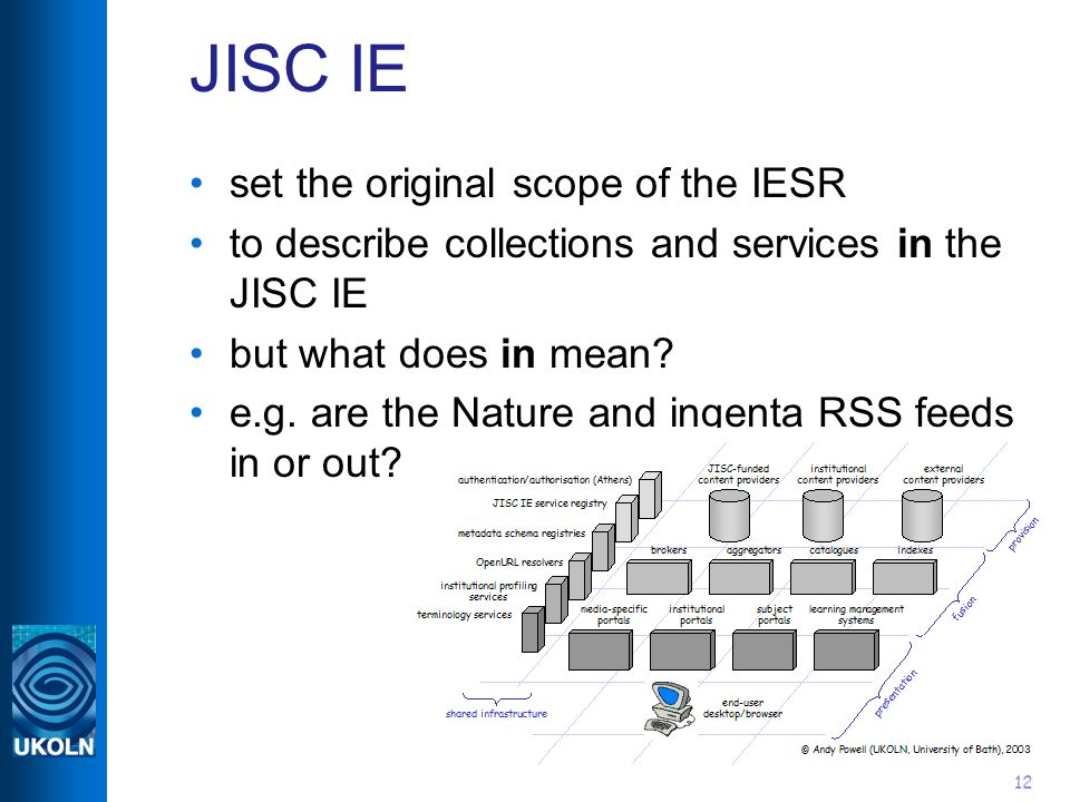 12 JISC IE set the original scope of the IESR to describe collections and services in the JISC IE but what does in mean? e.g. are the Nature and ingen