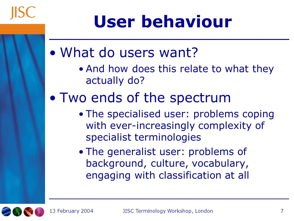 13 February 2004JISC Terminology Workshop, London7 User behaviour What do users want.