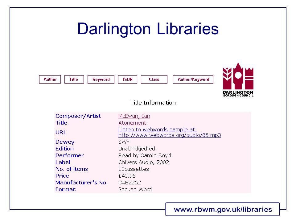 www.rbwm.gov.uk/libraries Darlington Libraries