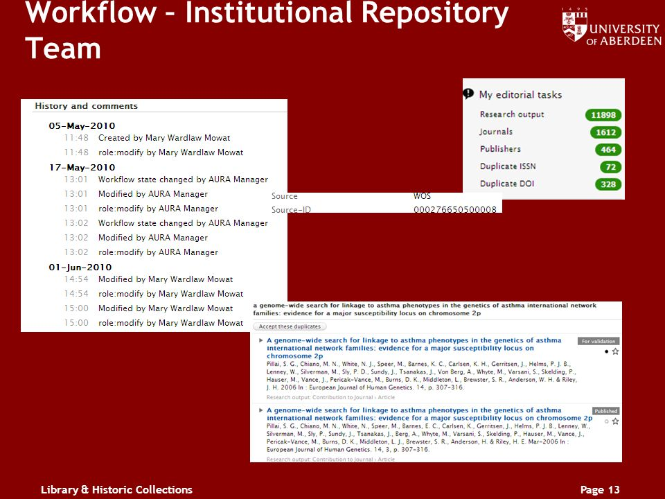 Library & Historic CollectionsPage 13 Workflow – Institutional Repository Team