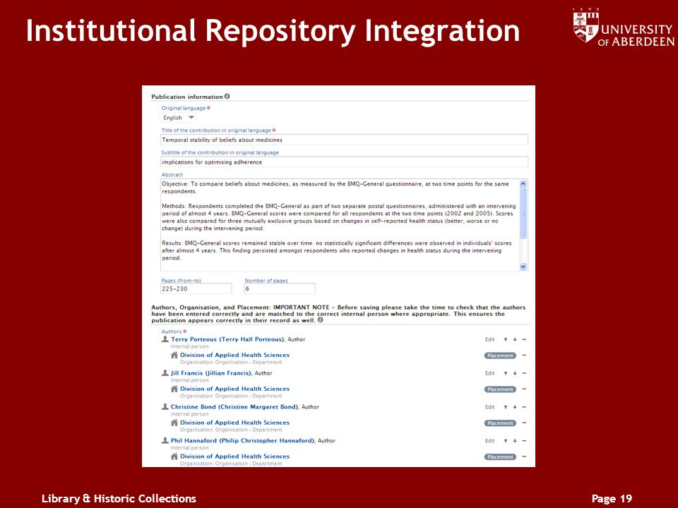 Library & Historic CollectionsPage 19 Institutional Repository Integration