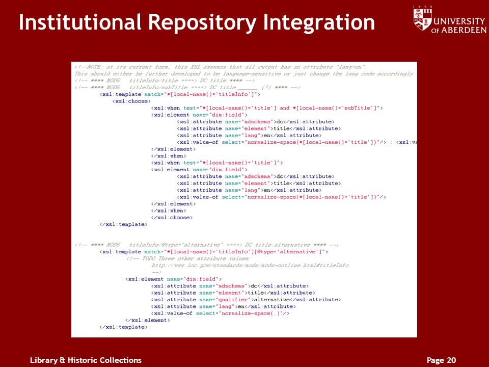 Library & Historic CollectionsPage 20 Institutional Repository Integration