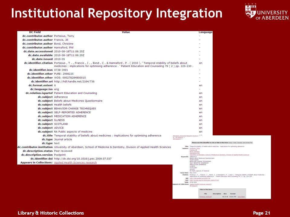 Library & Historic CollectionsPage 21 Institutional Repository Integration